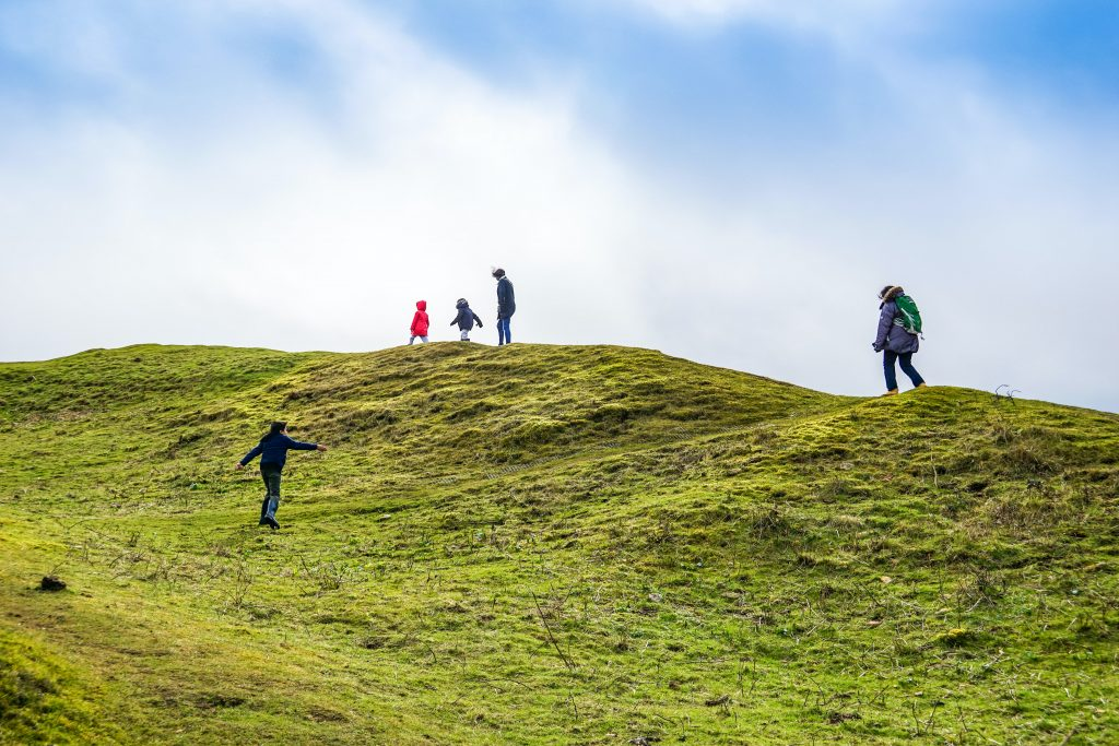 People walking on hills