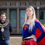 The Mayor of Stockport, Cllr Dean Fitzpatrick with Joanne Watson, Beacon Counselling