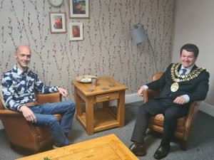 Cllr Dean Fitzpatrick as Mayor of Stockport 2020-21 with Beacon CEO, James, Harper